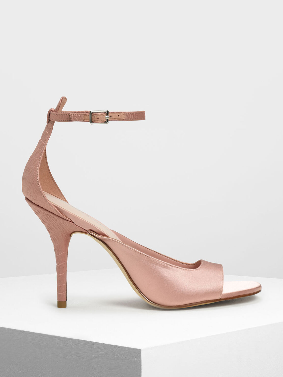 Satin Ankle Strap Heels, Nude, hi-res