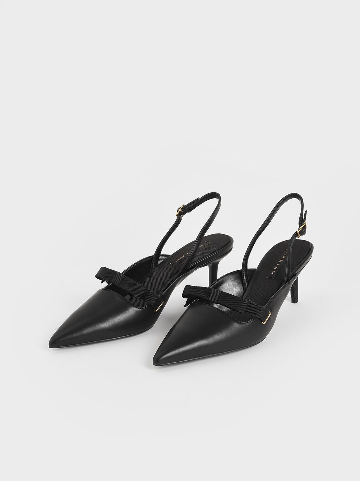 Bow Slingback Pumps, Black, hi-res