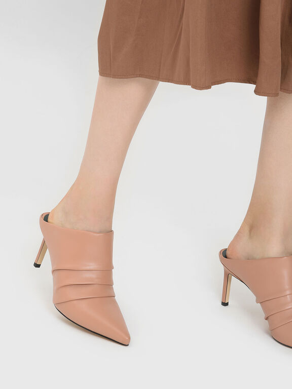 Ruched Mules, Nude
