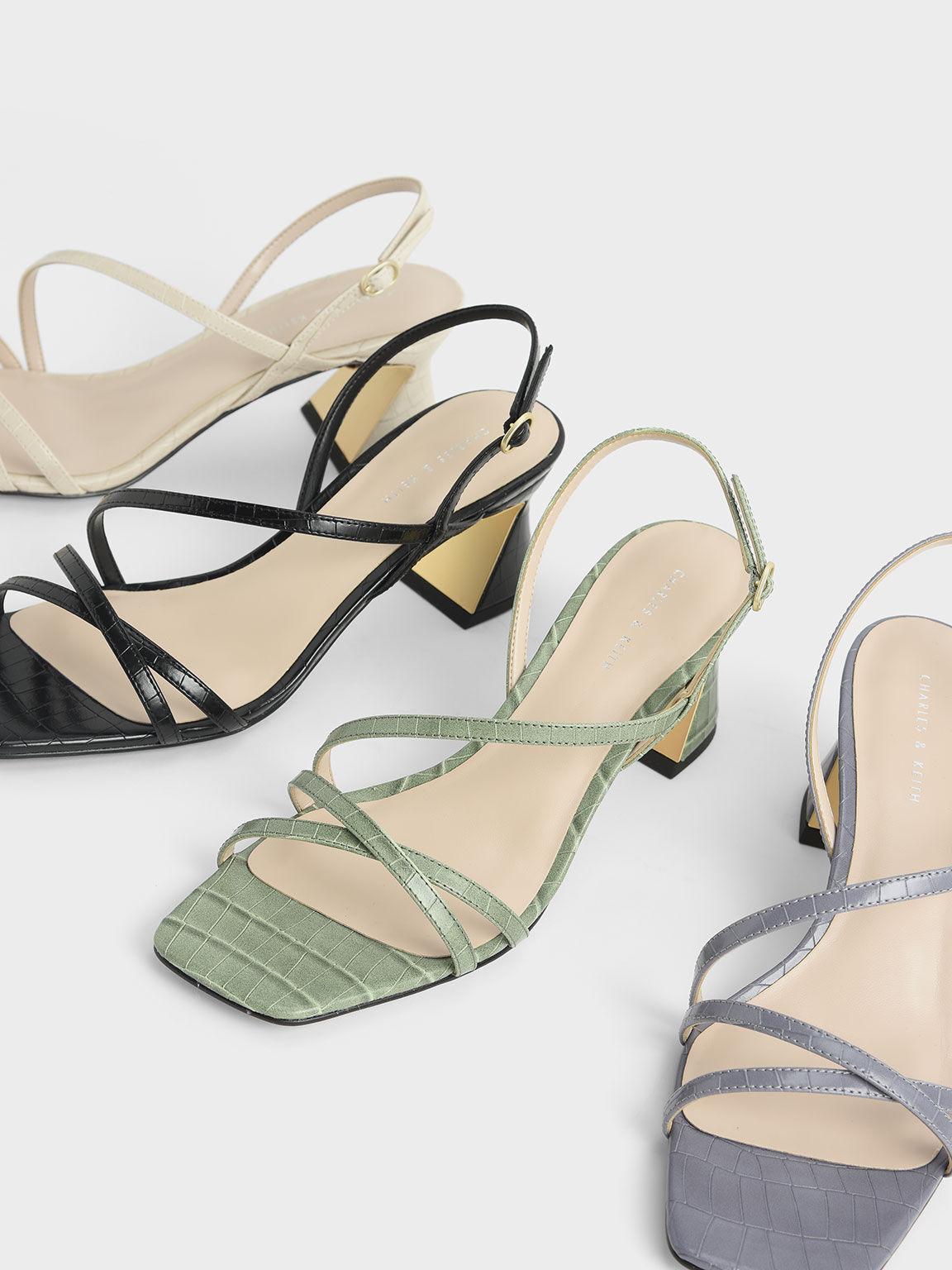 鱷魚紋三角跟涼鞋, 白色動物紋, hi-res
