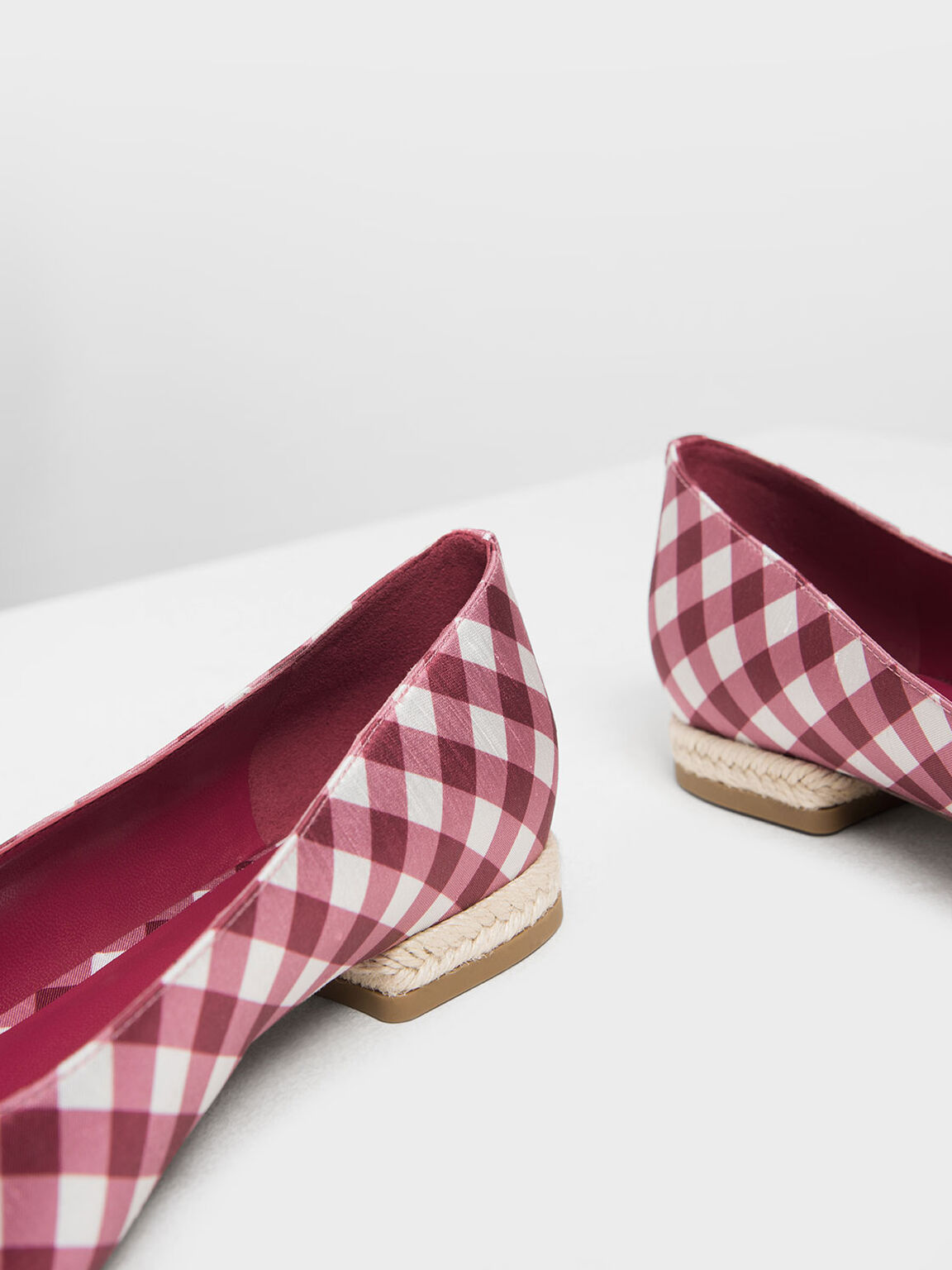 Espadrille Block Heel Check Print Ballerinas, Red, hi-res