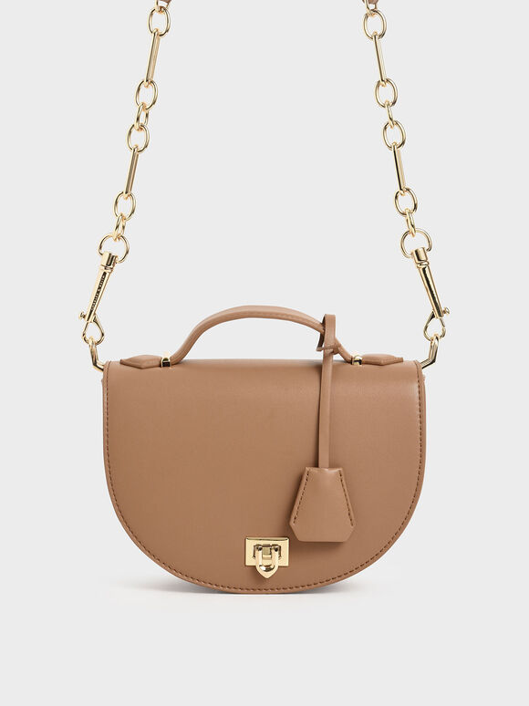 Top Handle Saddle Bag, Nude, hi-res