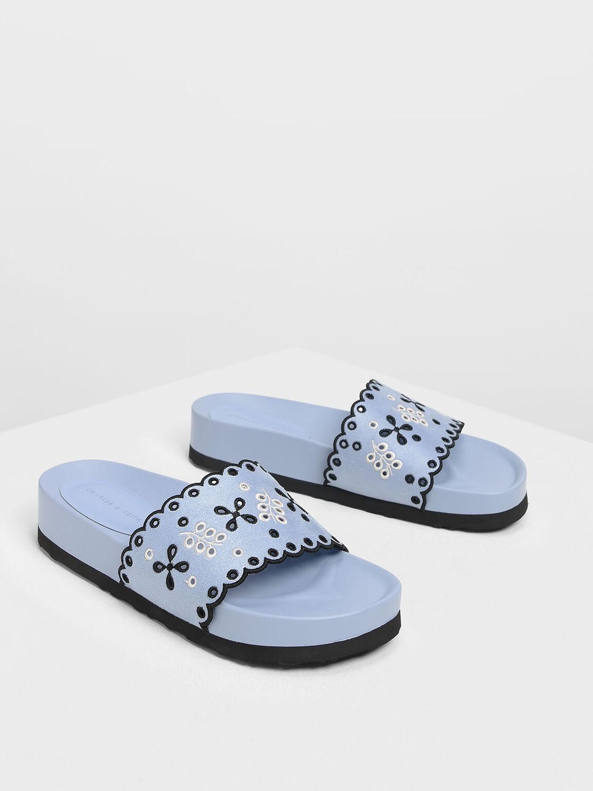 Scalloped Floral Suede Slide Sandals, Light Blue, hi-res