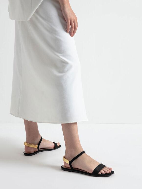 Textured Square Toe Sandals, Black, hi-res