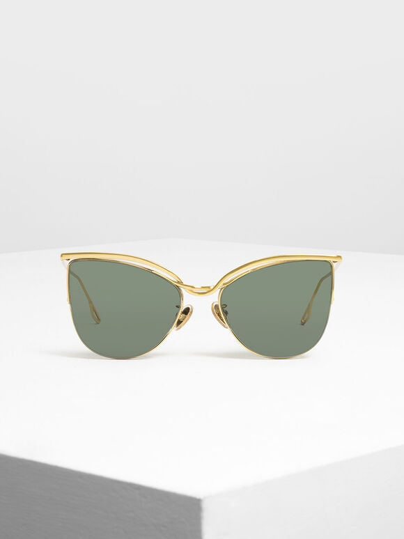 Wire Frame Cat Eye Shades, Gold, hi-res