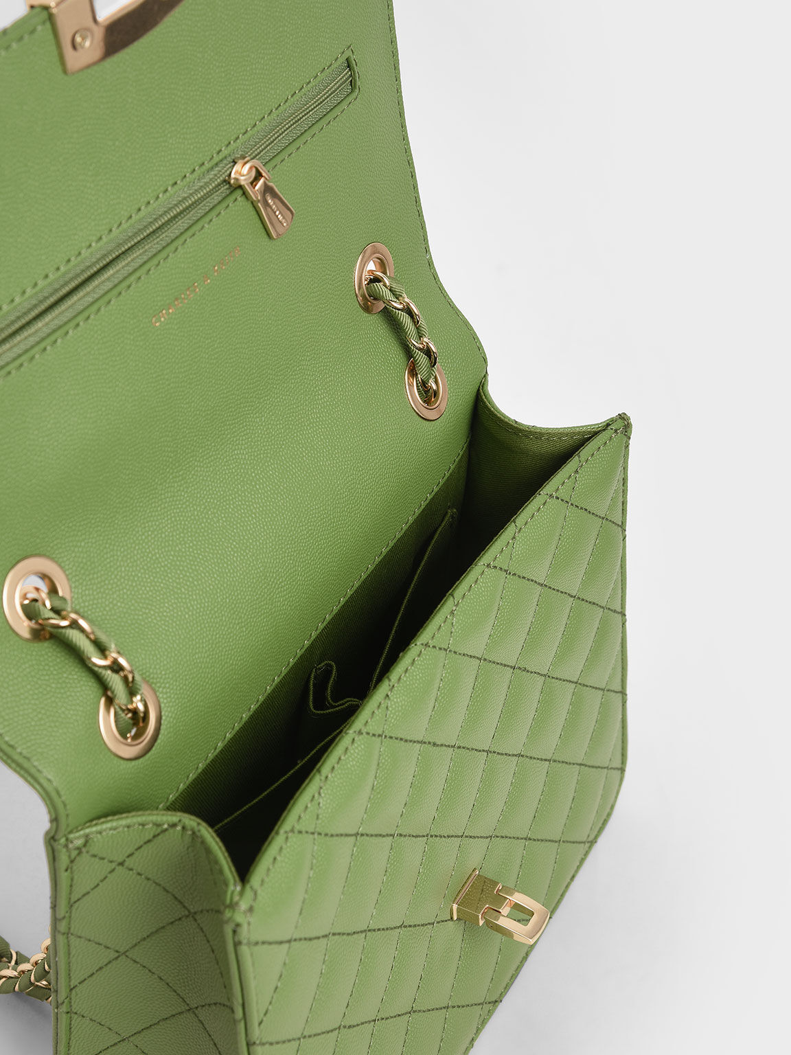 Quilted Chain Strap Clutch, Green, hi-res
