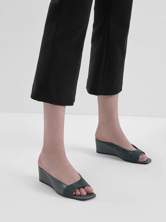 Asymmetrical Open Toe Wedges, Green, hi-res