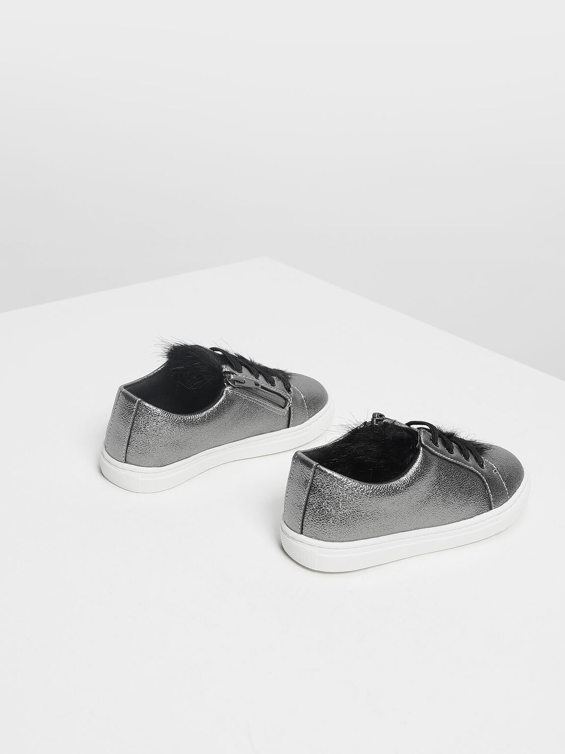 Kids Metallic Sneakers, Pewter, hi-res