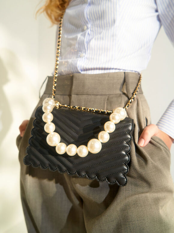 Pearl-Embellished Crossbody Bag, Black, hi-res