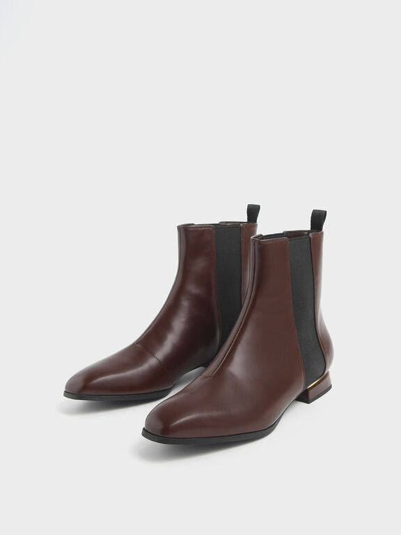 Metal Accent Heel Chelsea Boots, Brown