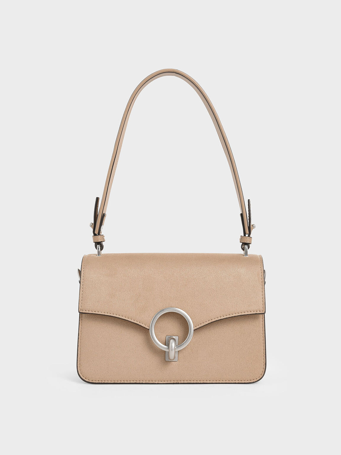 Textured Turn-Lock Shoulder Bag, Beige, hi-res