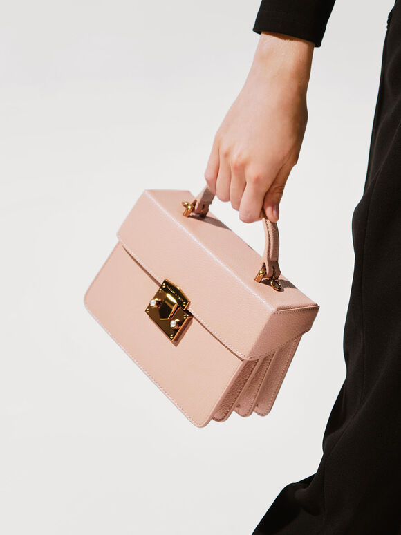Classic Push-Lock Top Handle Bag, Nude, hi-res