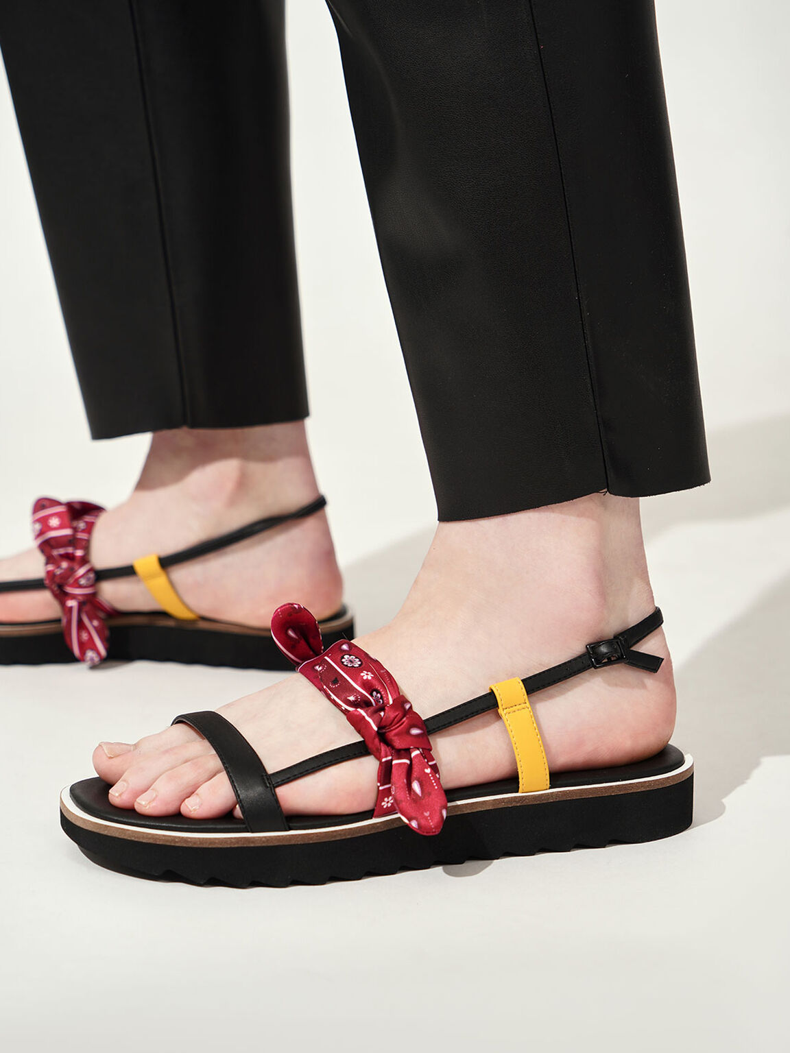 Summer 2020 Responsible Collection: Bandana Print Tie Flatforms, Red, hi-res