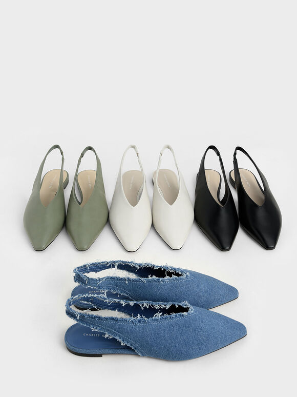 Textured Pointed Toe Slingback Ballerinas, Blue, hi-res