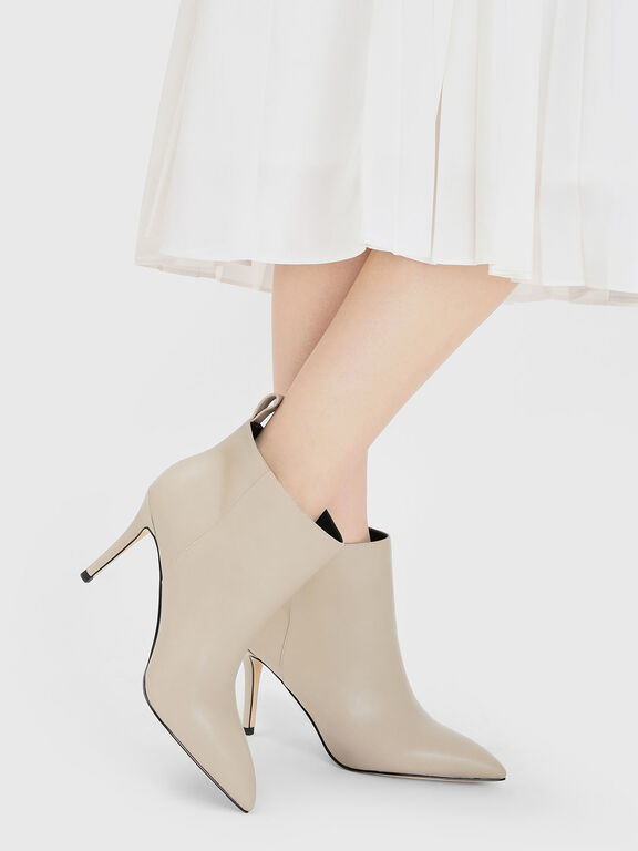 Pointed Ankle Boots, Chalk