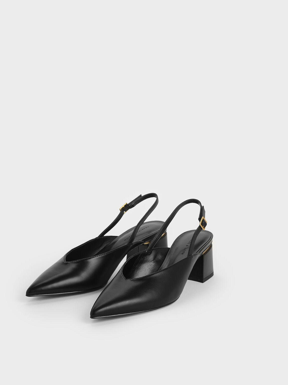 V-Cut Block Heel Slingback Pumps, Black, hi-res