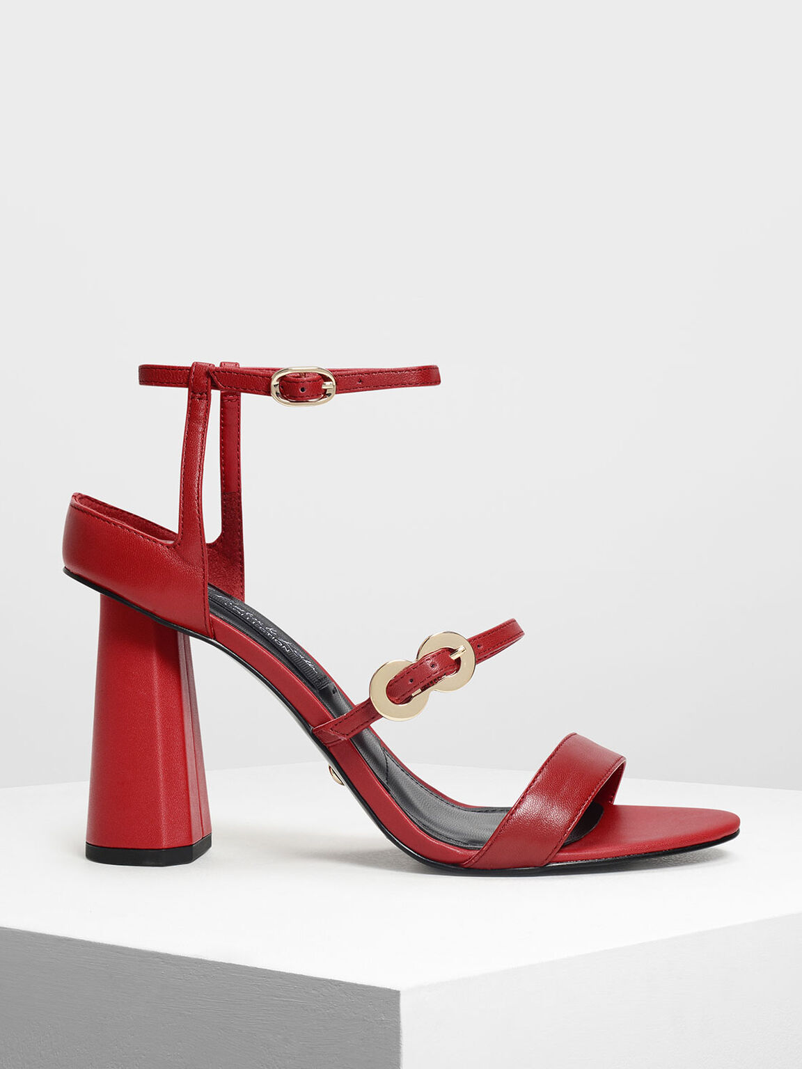 Leather Infinity Buckle Open Toe Sandals, Red, hi-res