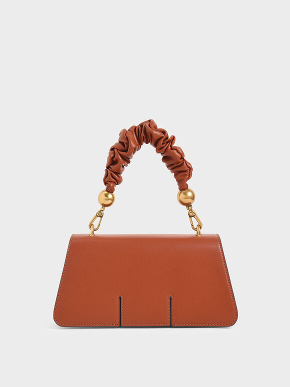 Ruched Handle Sculptural Bag, Brick, hi-res