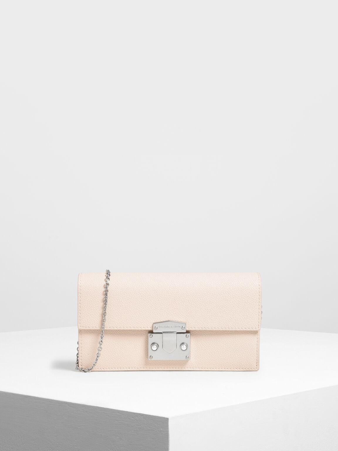 Metal Push Lock Long Wallet, Light Pink, hi-res