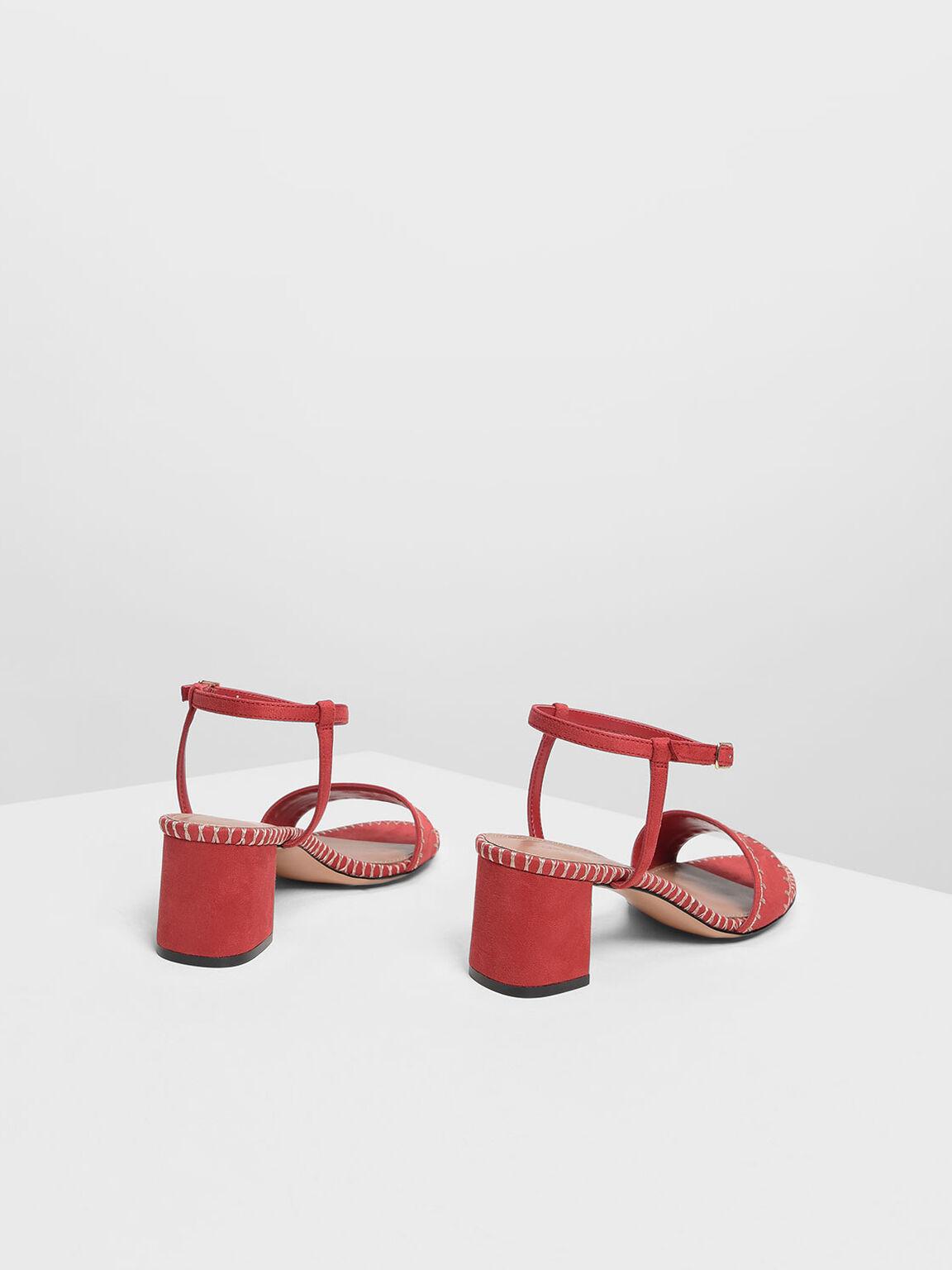 Whipstitch Suede Sandals, Red, hi-res