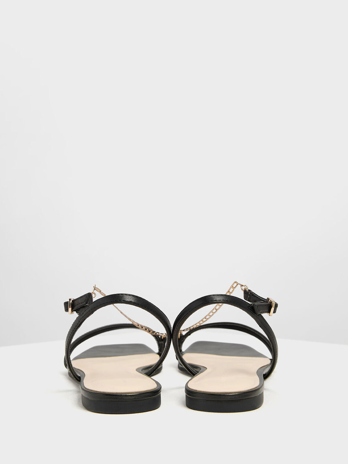 Chain Strap Sandals, Black, hi-res