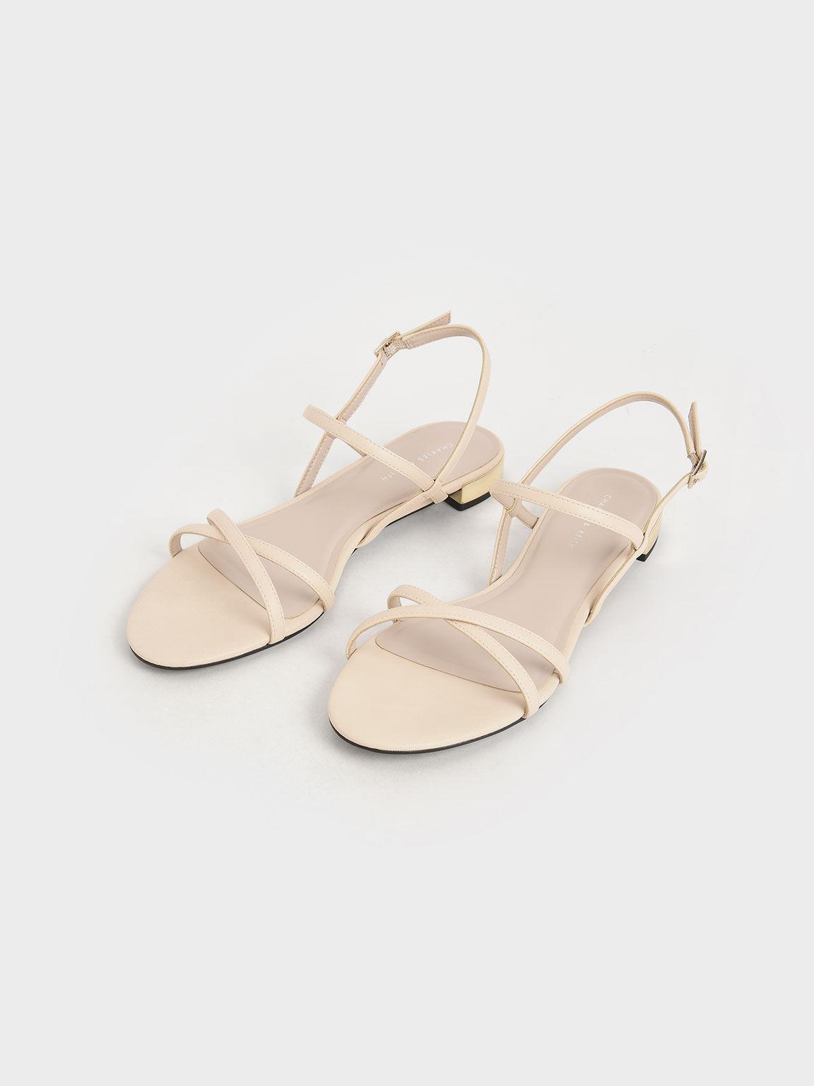 Strappy Flat Sandals, Chalk, hi-res