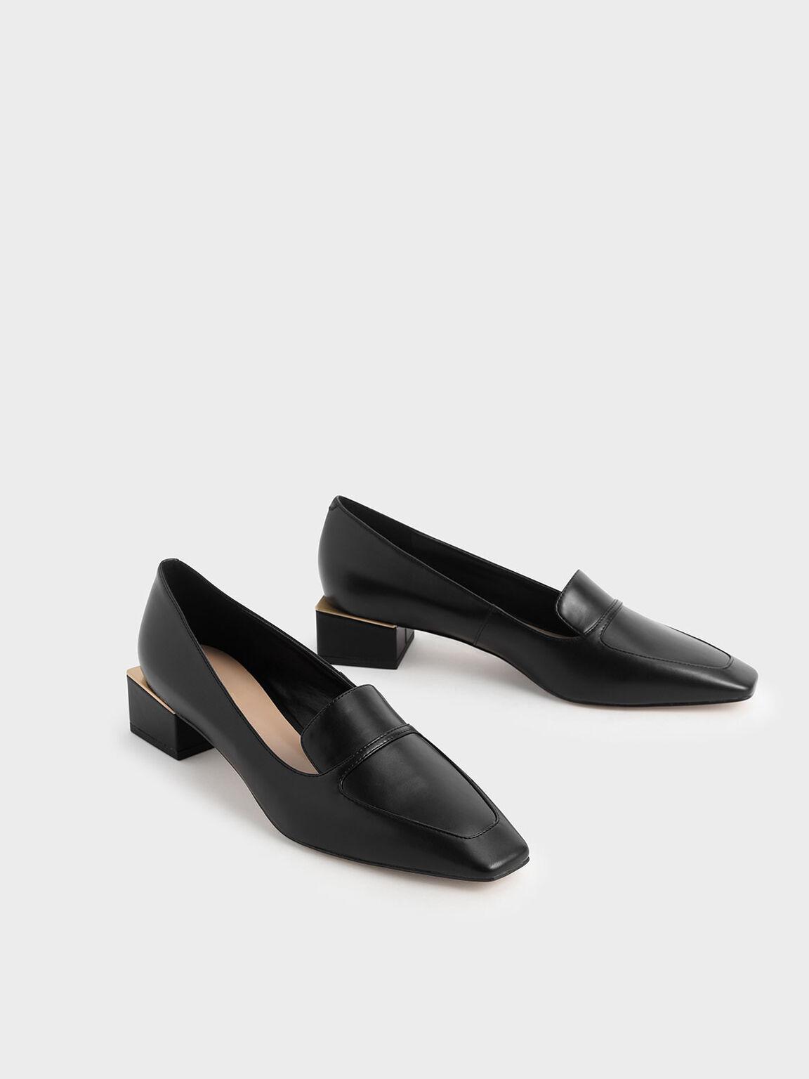Block Heel Loafers, Black, hi-res