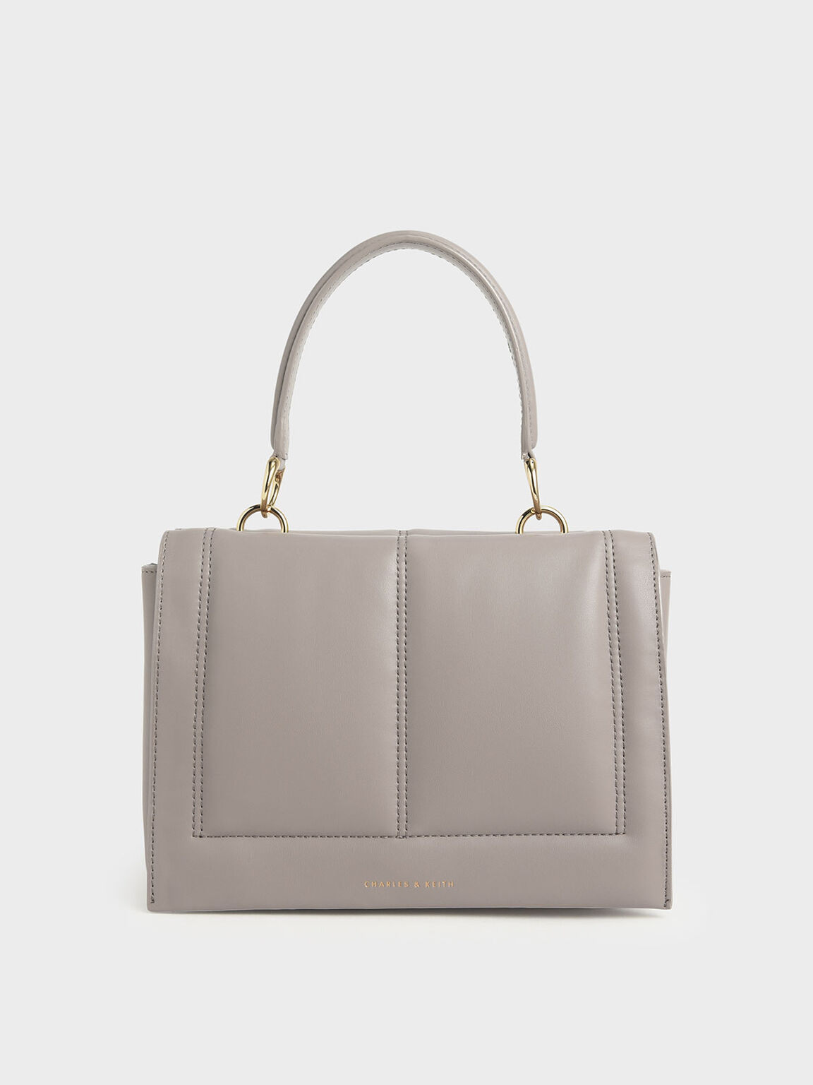 Quilted Top Handle Bag, Sand, hi-res
