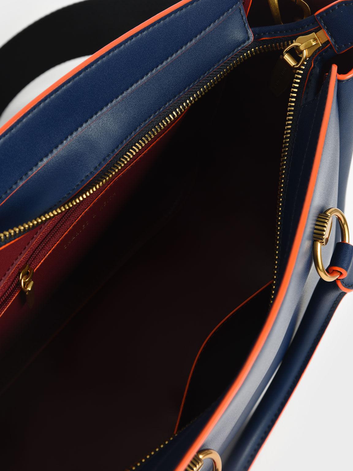 Ring Detail Large Hobo Bag, Navy, hi-res