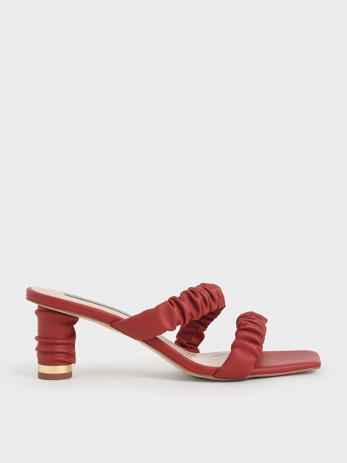 皺褶雙帶拖鞋, 紅色, hi-res