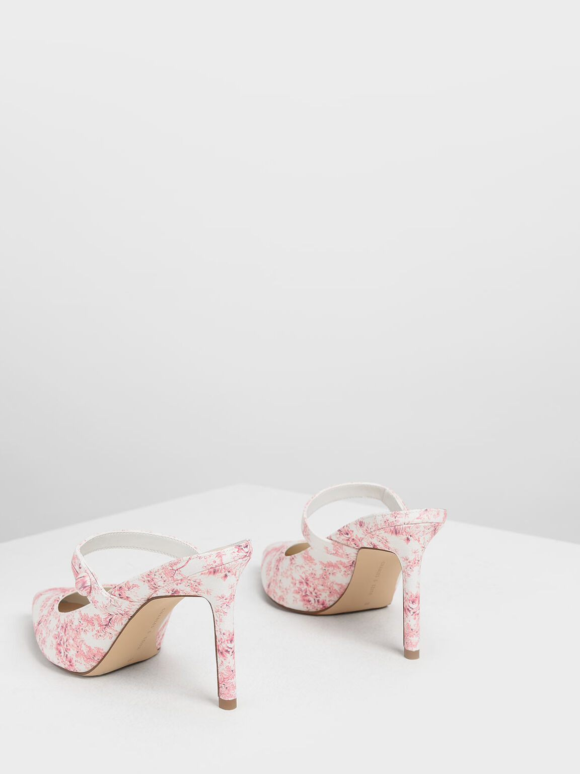 Floral Print Mary Jane Mules, Pink, hi-res