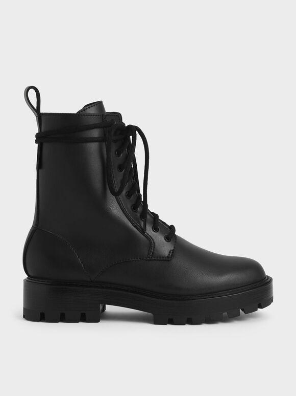 厚底綁帶短靴, 黑色, hi-res