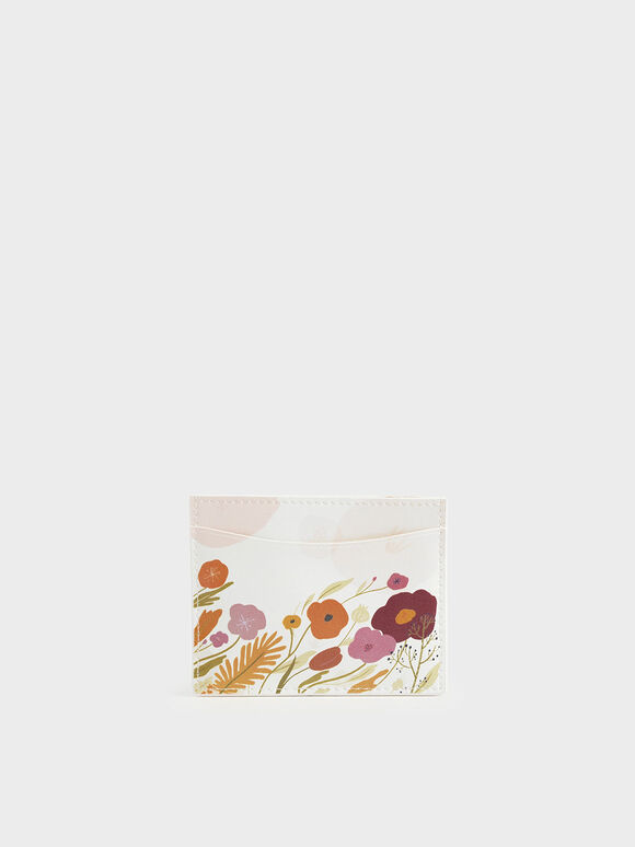 CHARLES & KEITH by Oamul Lu: Floral Illustration Card Holder, White, hi-res