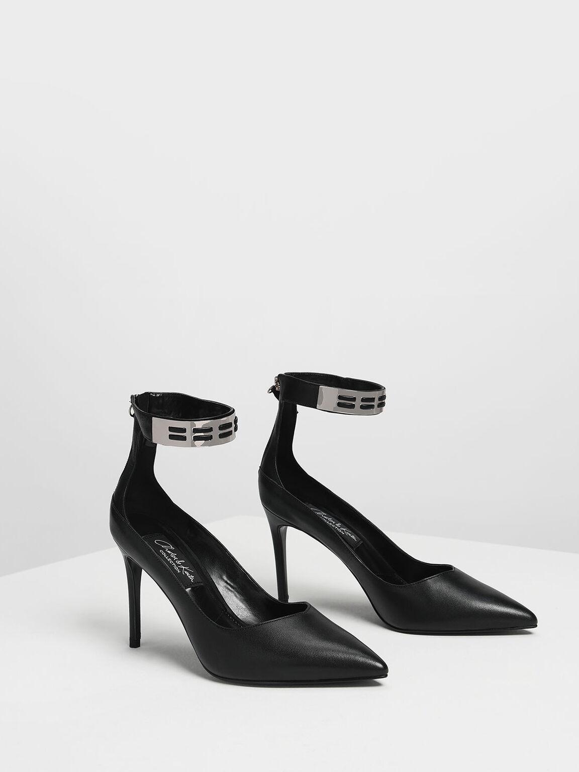 Metallic Cuff Leather Heels, Black, hi-res