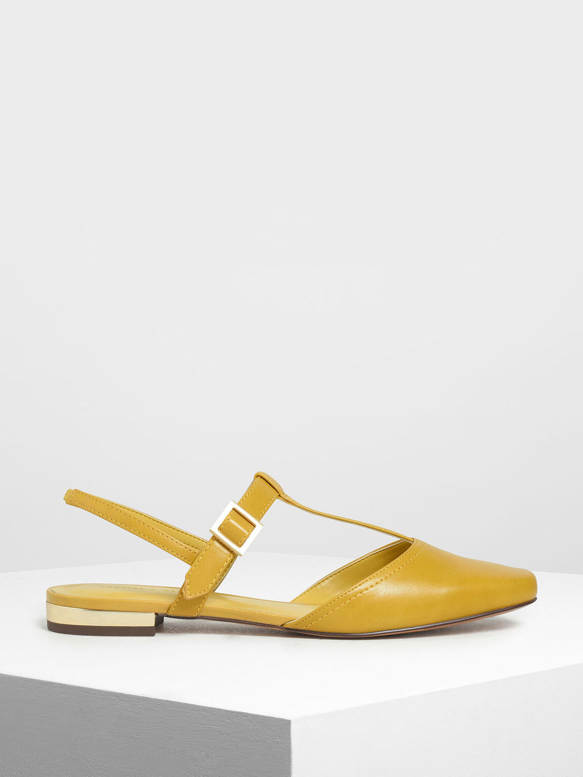 T- Bar Front Covered Sandals, Yellow, hi-res