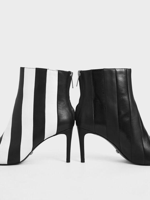 真皮條紋短靴, 黑色, hi-res