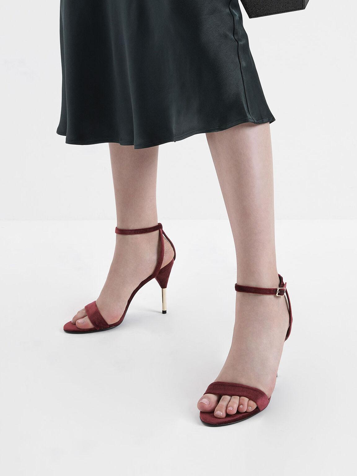 金屬高跟涼鞋, 紅色, hi-res
