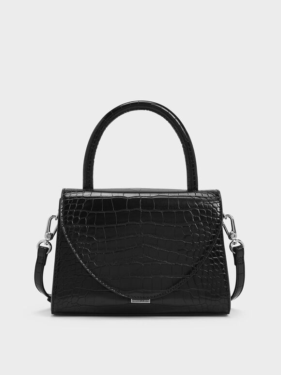 Croc-Effect Structured Top Handle Bag, Black, hi-res