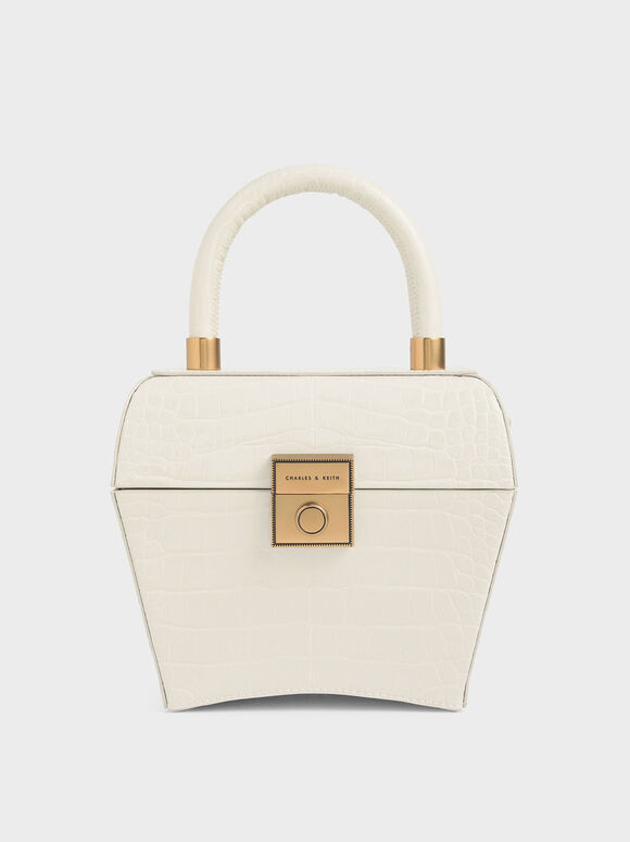 Croc-Effect Sculptural Bag, Cream, hi-res