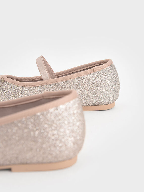 Girls' Glitter Bow Ballerina Flats, Light Pink, hi-res