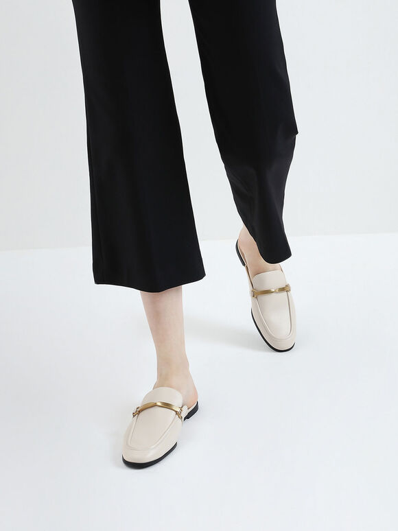 Metal Accent Slip-On Loafers, Chalk, hi-res