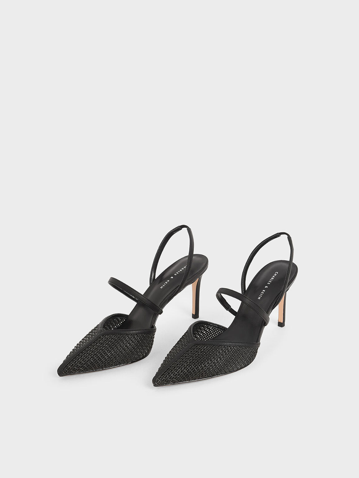 Woven Mary Jane Slingback Pumps, Black, hi-res