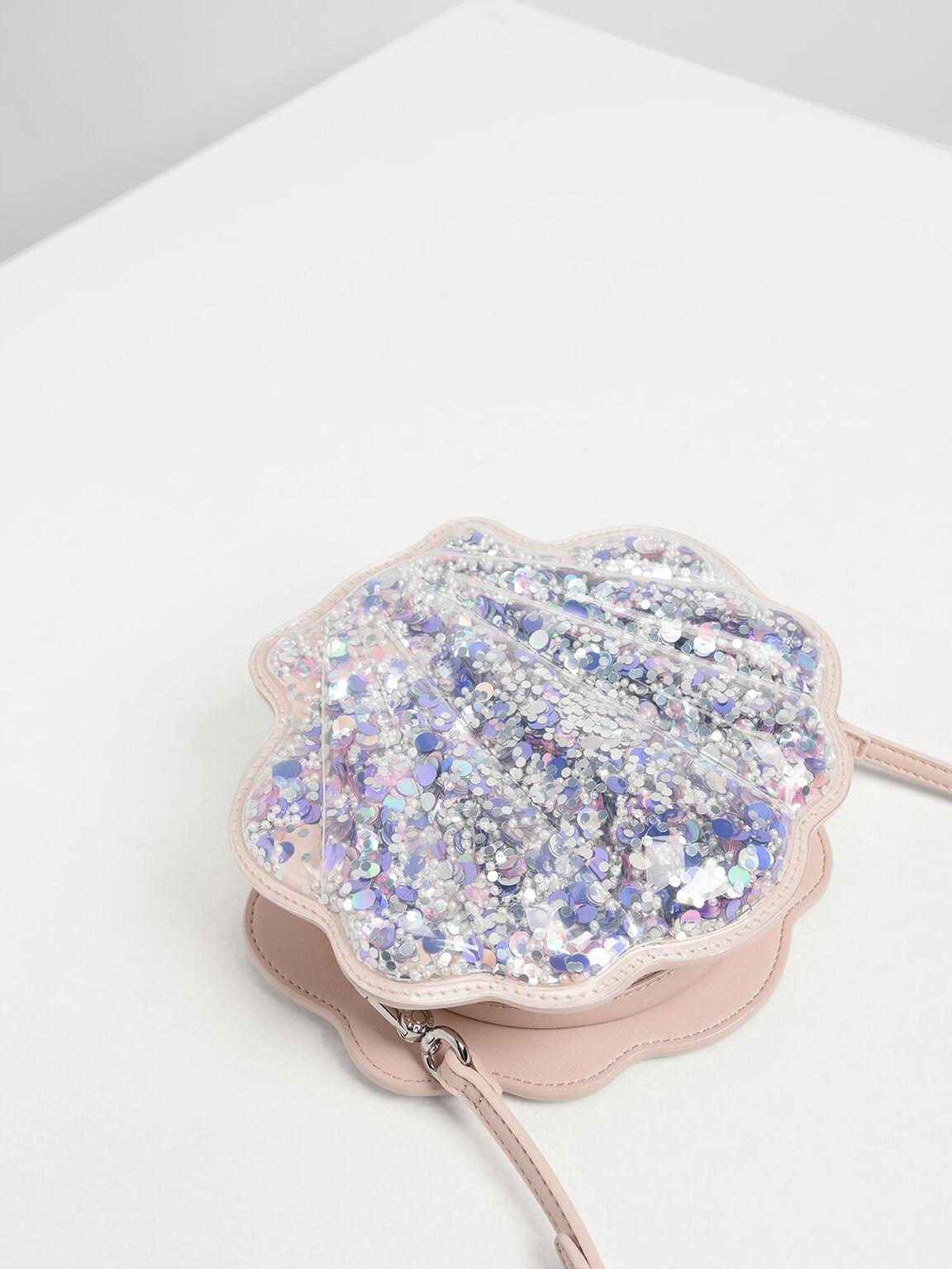 Girls' Glitter Seashell Bag, Pink, hi-res