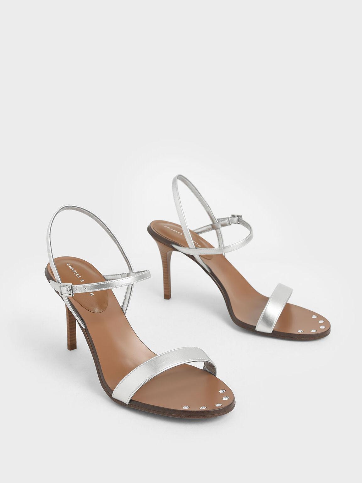 一字高跟涼鞋, 銀色, hi-res