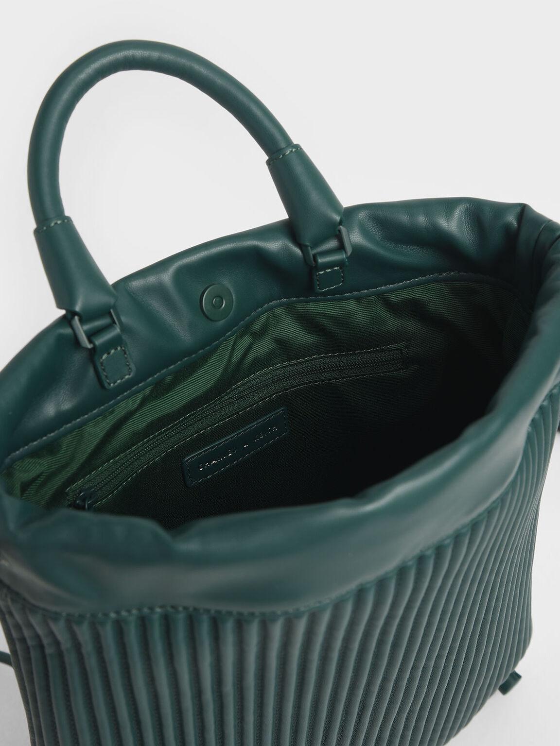 Neoprene Drawstring Backpack, Dark Green, hi-res
