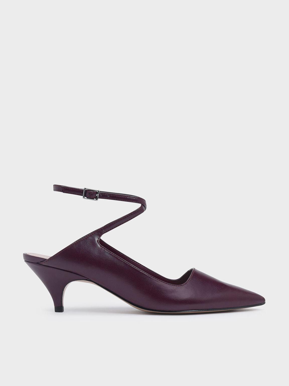 Criss Cross Ankle Strap Kitten Heel Pumps, Purple, hi-res