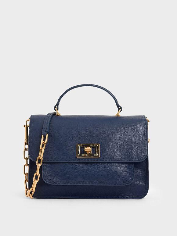Large Resin-Effect Buckle Bag, Dark Blue, hi-res