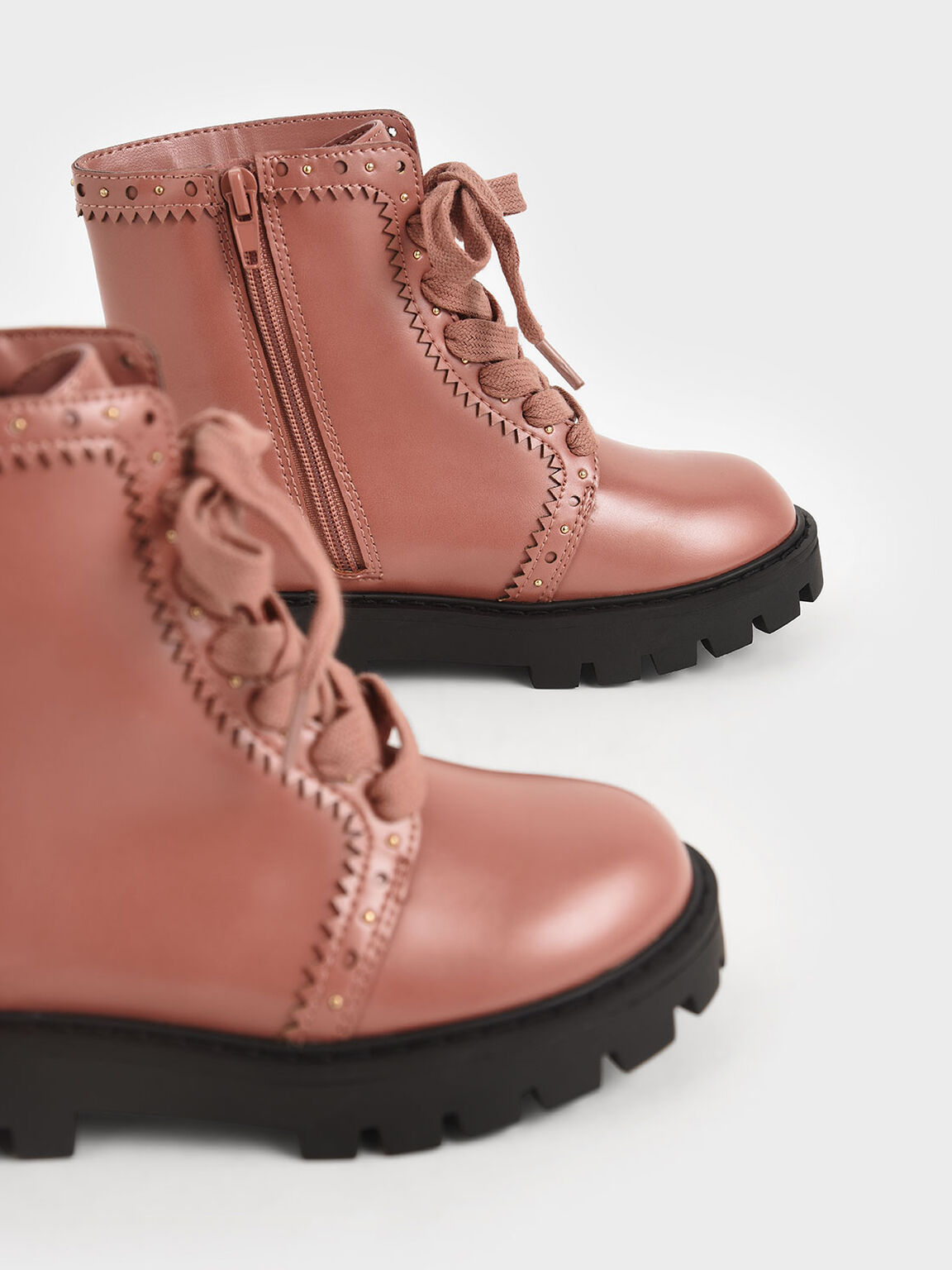 Girls' Studded Lace-Up Ankle Boots, Pink, hi-res