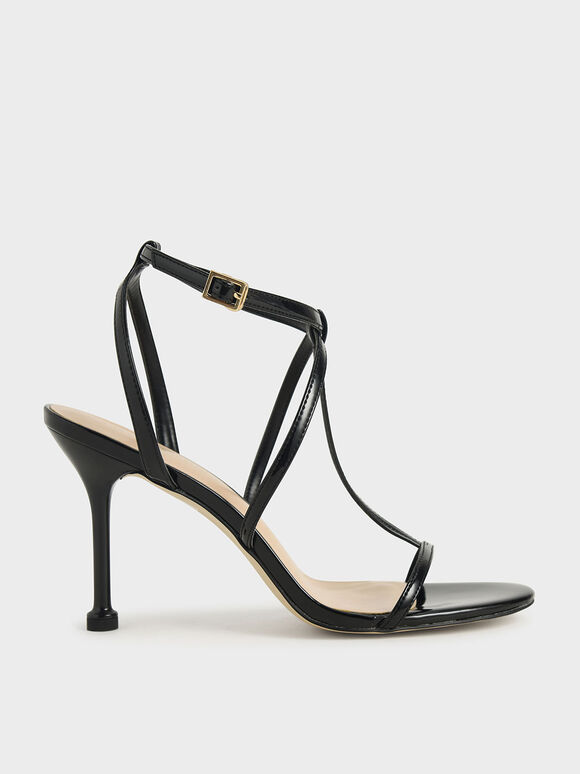 Patent Strappy Stiletto Heels, Black, hi-res