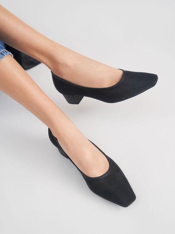 網紗方頭跟鞋, 黑色, hi-res